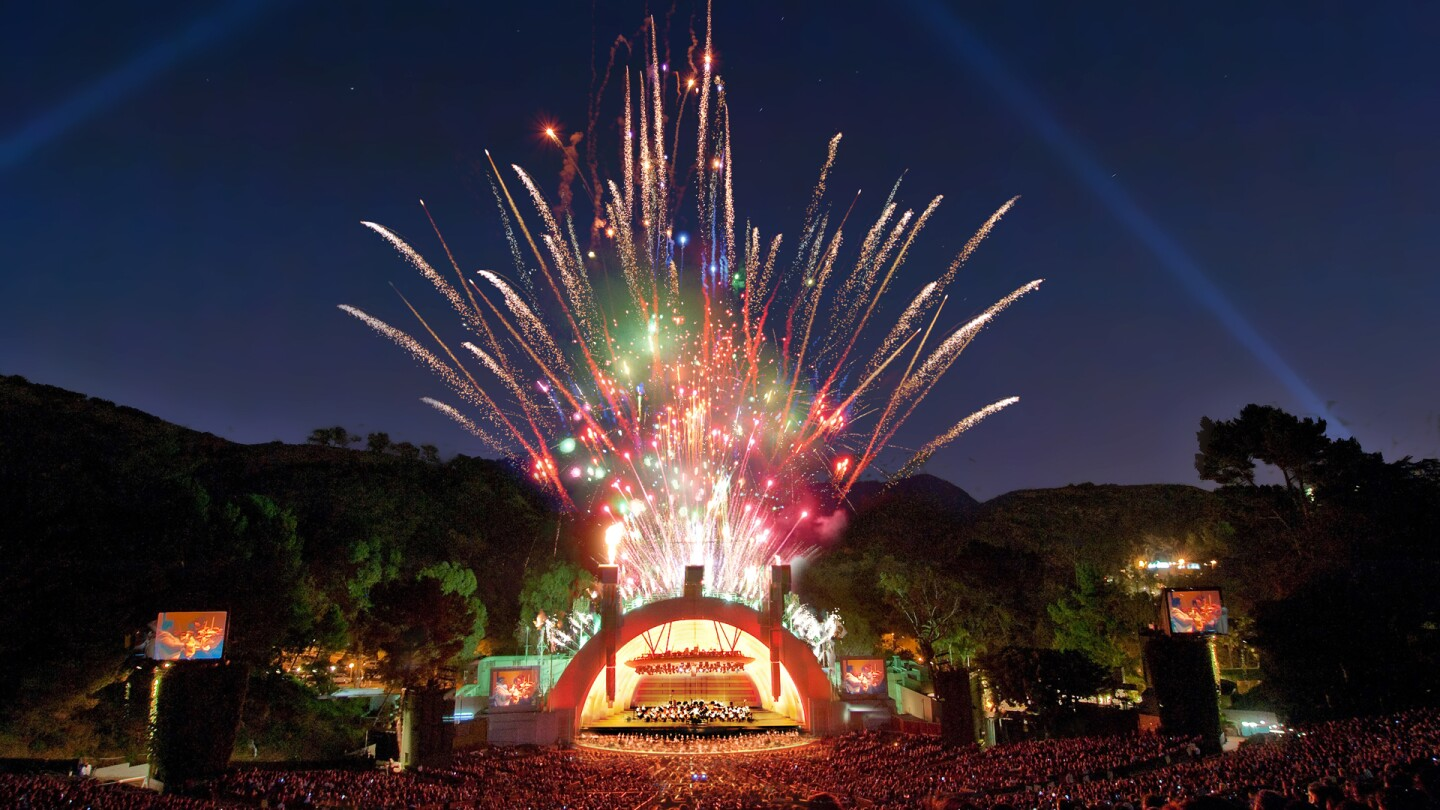 Hollywood Bowl shell with fireworks. | Adam Latham