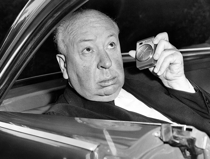Hitchcock riding to work from his Bel Air home in 1961