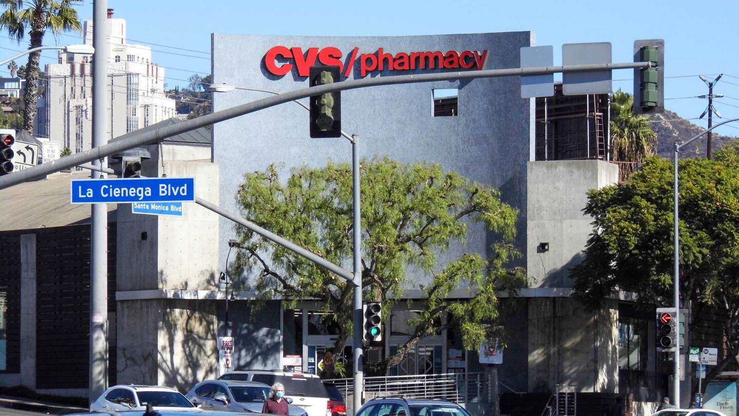Exterior of CVS Pharmacy in West Hollywood, formerly La Cienega Lanes and Flipper's Roller Rink.