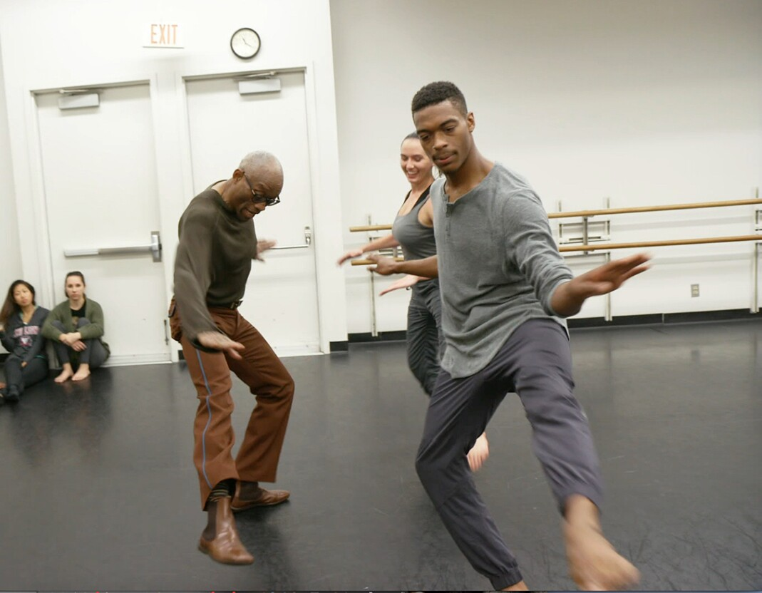Bill T. Jones in rehearsal doing Astaire steps with students Brandon and Nicole. | Courtesy of Rosalynde LeBlanc