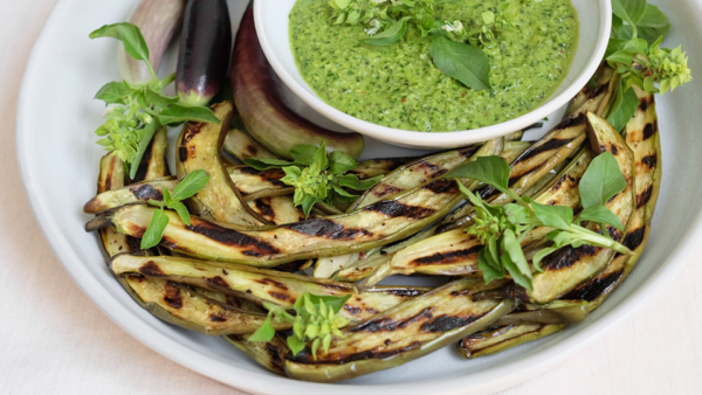 Grilled Eggplant with Spicy Lemon Basil Pesto