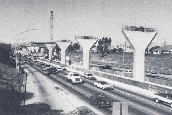 The Harbor Freeway Transitway, which carries the Metro Silver Line as well as carpool lanes, under construction in 1992. Courtesy of the Metro Transportation Library and Archive.