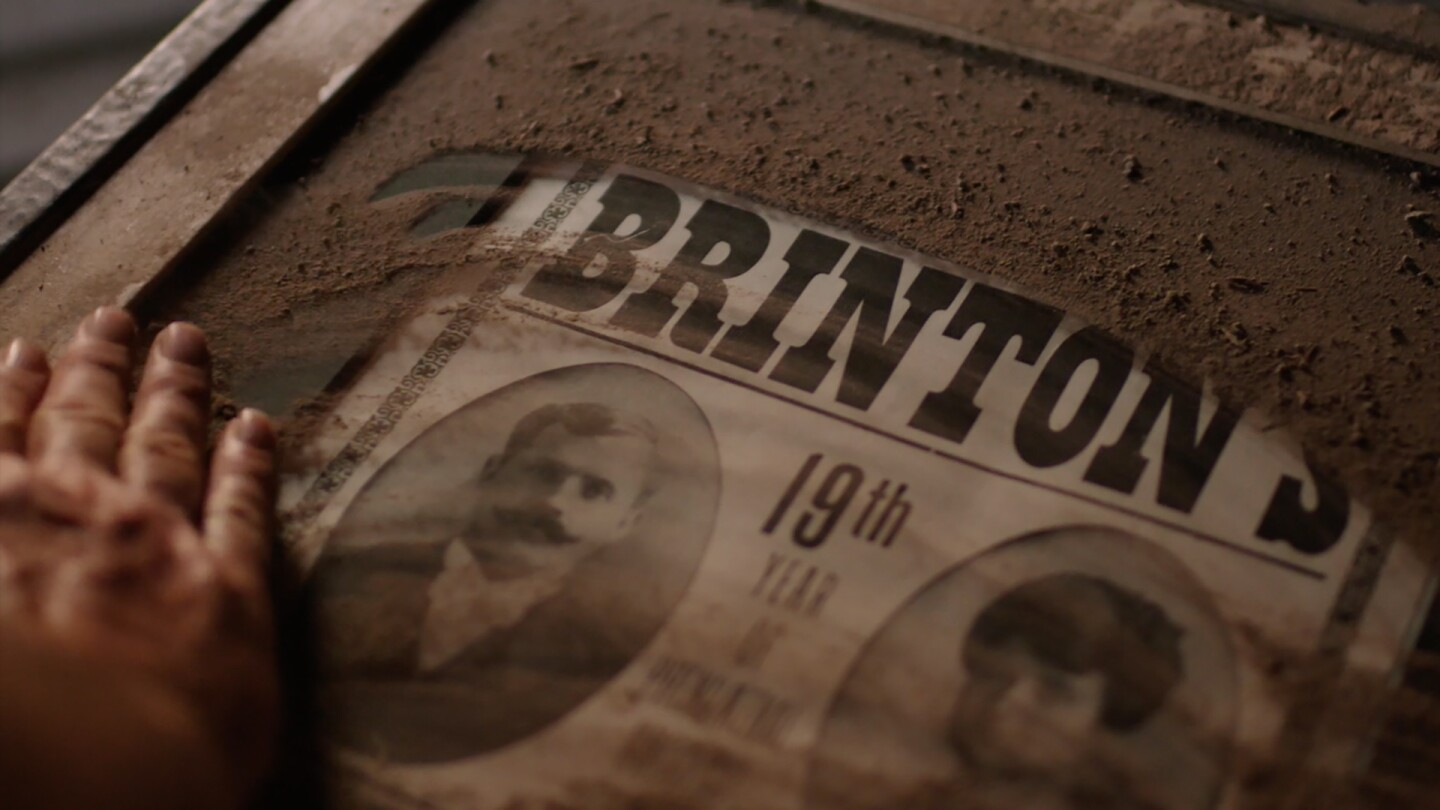 A poster advertises the traveling motion pictures show of Frank and Indiana Brinton. | Photo Credit: Barn Owl Pictures