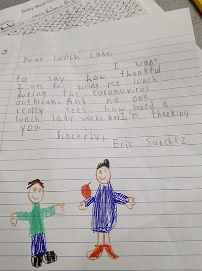 Student acknowledges the hard work of lunch ladies with this sweet note | Shannon Silva from Moreno Valley, California