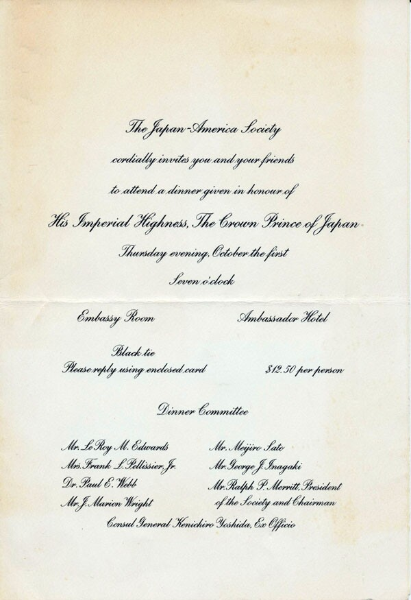 In 1953, when then Prince Akihito -- now Emperor -- came to Los Angeles, the 1954 Queen, Judy Sugita, greeted him at a ball held in his honor | Courtesy of Judy Sugita<br />