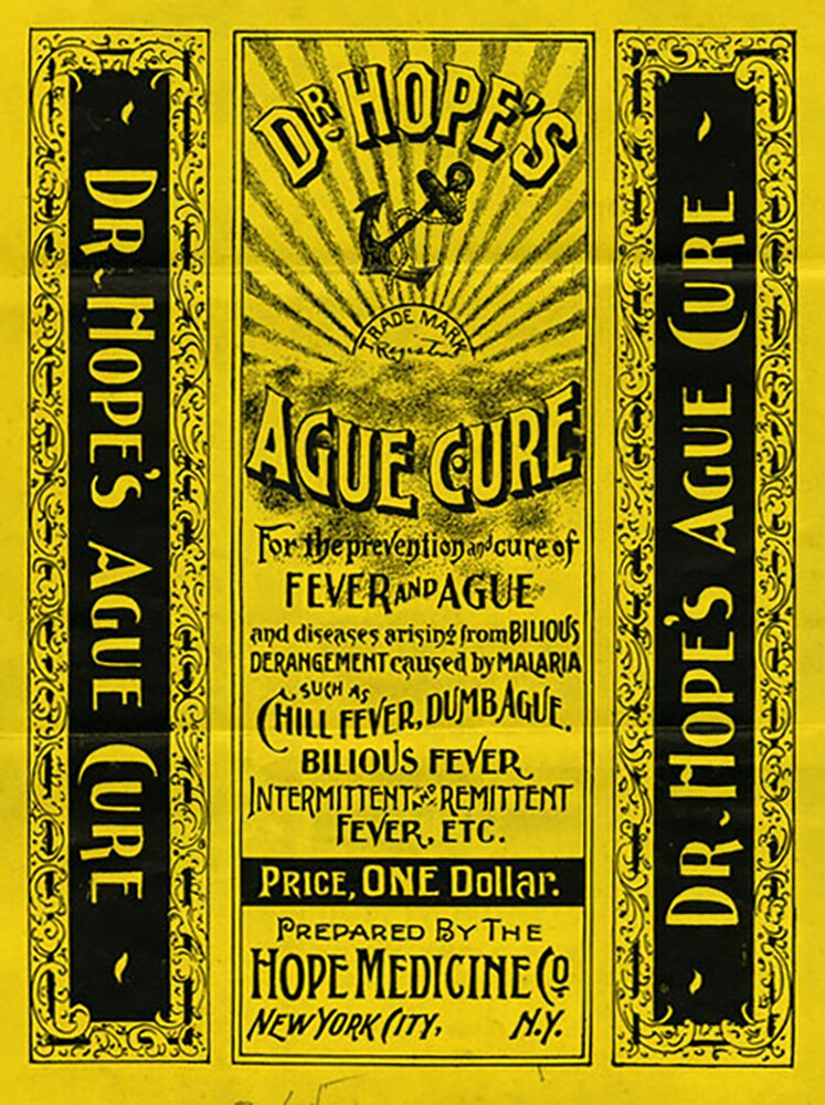 """""""Dr. Hope's Ague Cure"""" label, 1896 