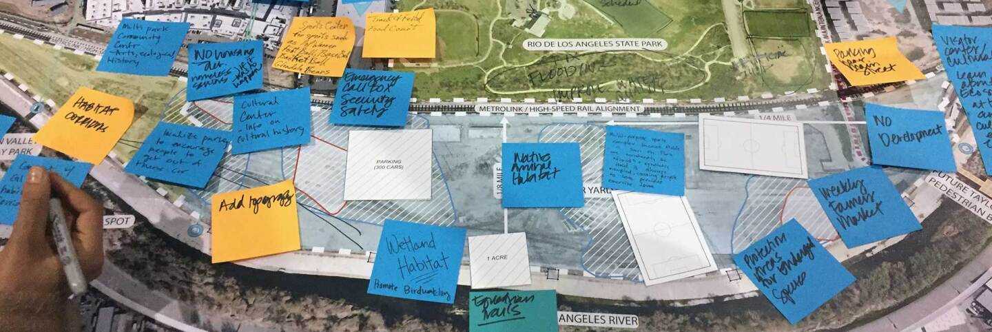 Notes marking public input on map of Taylor Yard. | Jaqueline Sordi