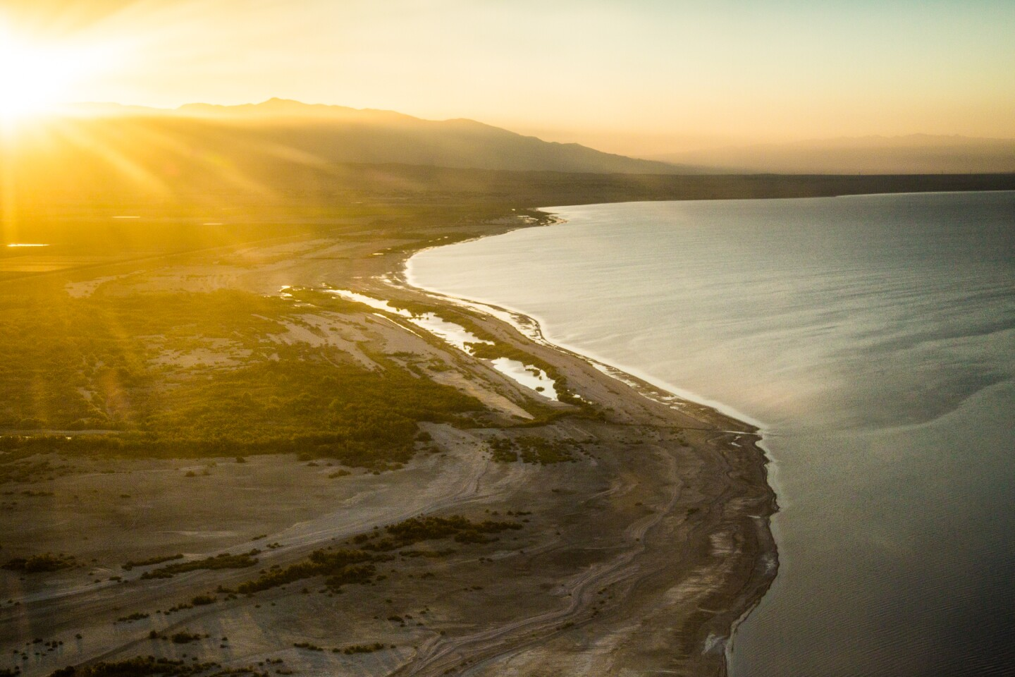 Aerial view of the Salton Sea shore from Oasis, Ca. | Lift to Rise