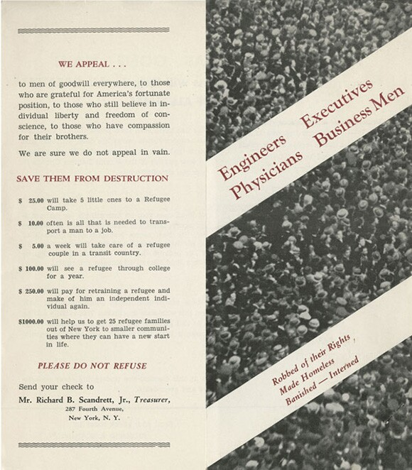 The American Committee for Refugees Public Appeal Brochure,1939<br /> Courtesy of the USC Libraries -- Jack L. Warner Collection.