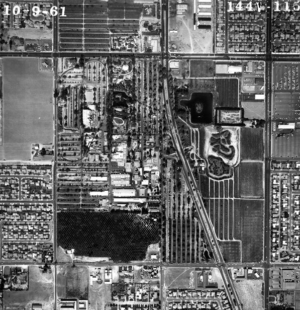 Aerial photograph of Knott's Berry Farm in 1961. Courtesy of the Orange County Archives
