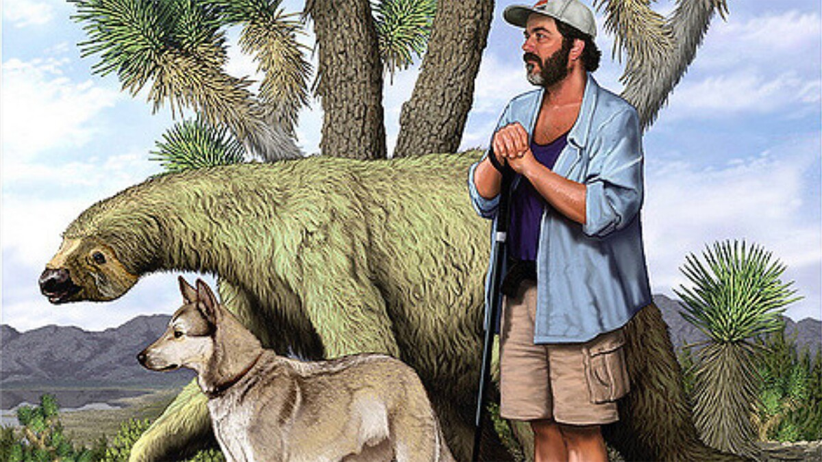 Carl Dennis Buell's painting of Chris Clarke with his dog Zeke accompanied by Nothrotheriops shastensis — the Shasta ground sloth. | © Carl Dennis Buell.