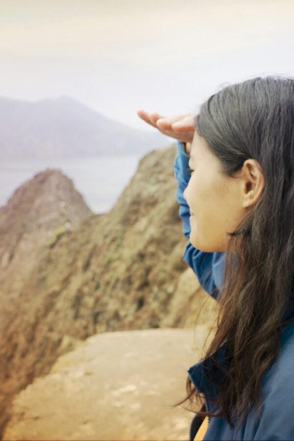 Rosey Alvero Overlooks Inspiration Point, Anacapa Island