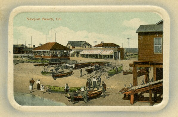 Postcard featuring Newport Beach, California, July 1912. From the Reverend Holcomb Collection.