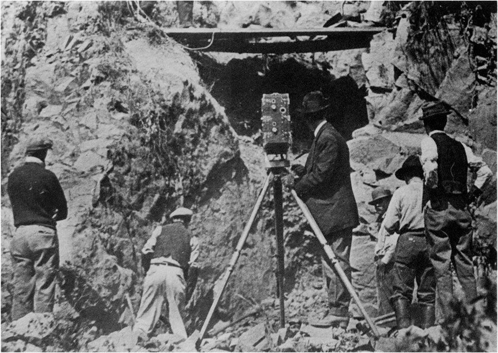 Gilbert M. Anderson's cinematographer and crew at work in Niles Canyon's creek bed. Geoffrey Bell Collection