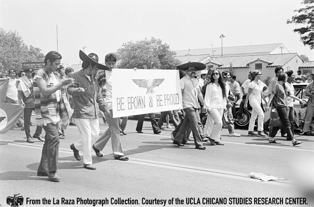 CSRC_LaRaza_B4F4C4_JR-RR_001 Protesters at Whittier Boulevard during the National Chicano Moratorium | La Raza photograph collection. Courtesy of UCLA Chicano Studies Research Center