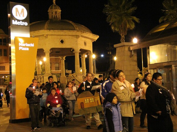 Boyle Heights community members assemble at Mariachi Plaza for the start of the ELACC posada.