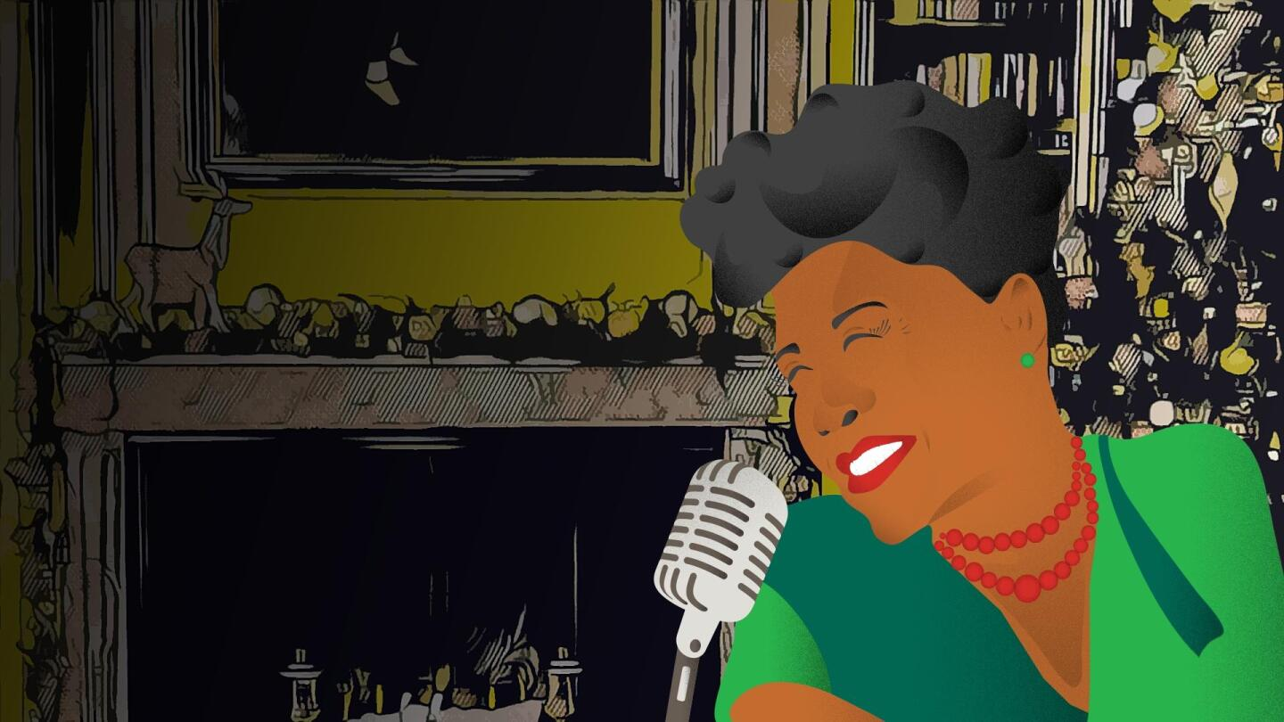 "A graphic illustration of Ella Fitzgerald singing into a microphone. | From ""Ella Wishes You a Swinging Christmas with Vanessa Williams"""