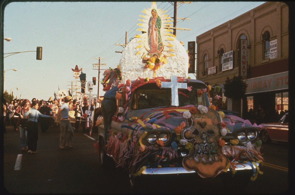Artist Leo Limon collaborated with legendary artists, Los Four, in 1977 with this Chevy pickup truck that they converted into a float for the Dia de los Muertos procession. | Courtesy of Self Help Graphics