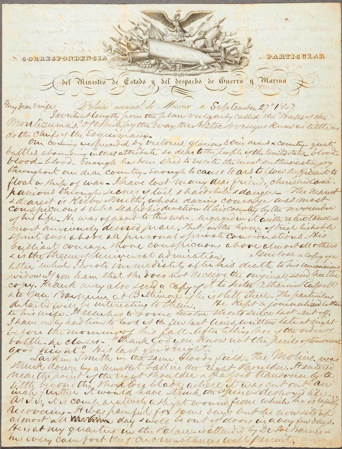 Autograph letter by Edmund Kirby signed to Eliza Brown Kirby dated Mexico City, September 27, 1847    The Huntington Library, Art Museum, and Botanical Gardens