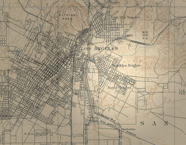 Though the name fails to earn a mention on most maps today, this 1908 topographic map includes Brooklyn Heights. Courtesy of the Map Collection, Los Angeles Public Library.