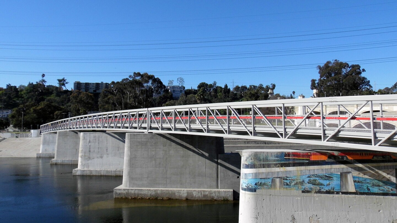 A brand-new pedestrian bridge that runs alongside the historic Glendale-Hyperion Bridge.   Sandi Hemmerlein
