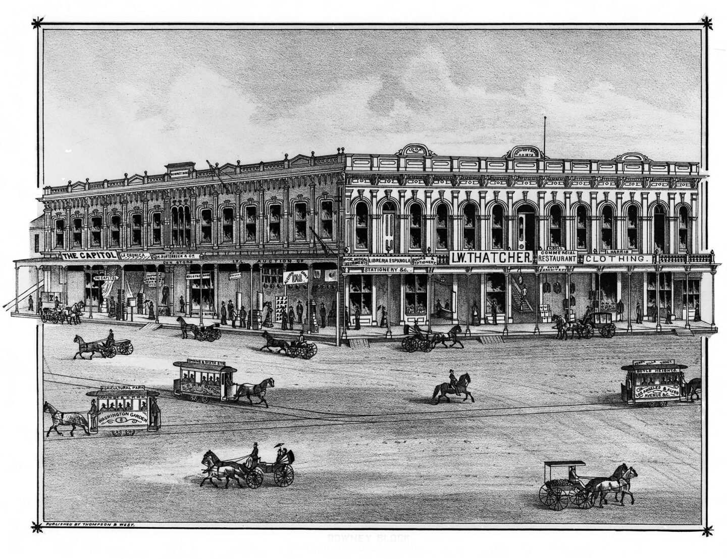 "The Downey Block, the site of Los Angeles' Indian slave market in the 1850s. Lithograph from Thompson & West's 1880 ""History of Los Angeles County."""