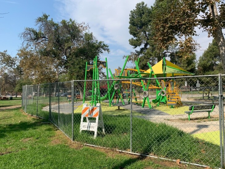 =Hermon (Arroyo Seco) Park's playground near Highland Park was still closed as of Monday morning. | Mariana Dale/ LAist