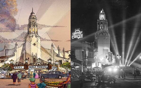 The Carthay Circle Theater at Disney California Adventure in Anaheim (left) was inspired by the now-demoshed original theater in Los Angeles (right). | Photos courtesy Disney (left) and Los Angeles Public Library Photo Collection (right)