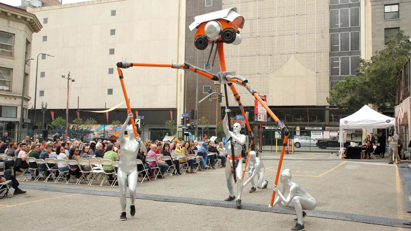 "Aliens made by Calder Greenwood for ""War of the Worlds"" performance 