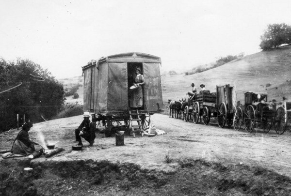 Camping in the Cahuenga Pass in 1892. Courtesy of the Security Pacific National Bank Collection - Los Angeles Public Library.