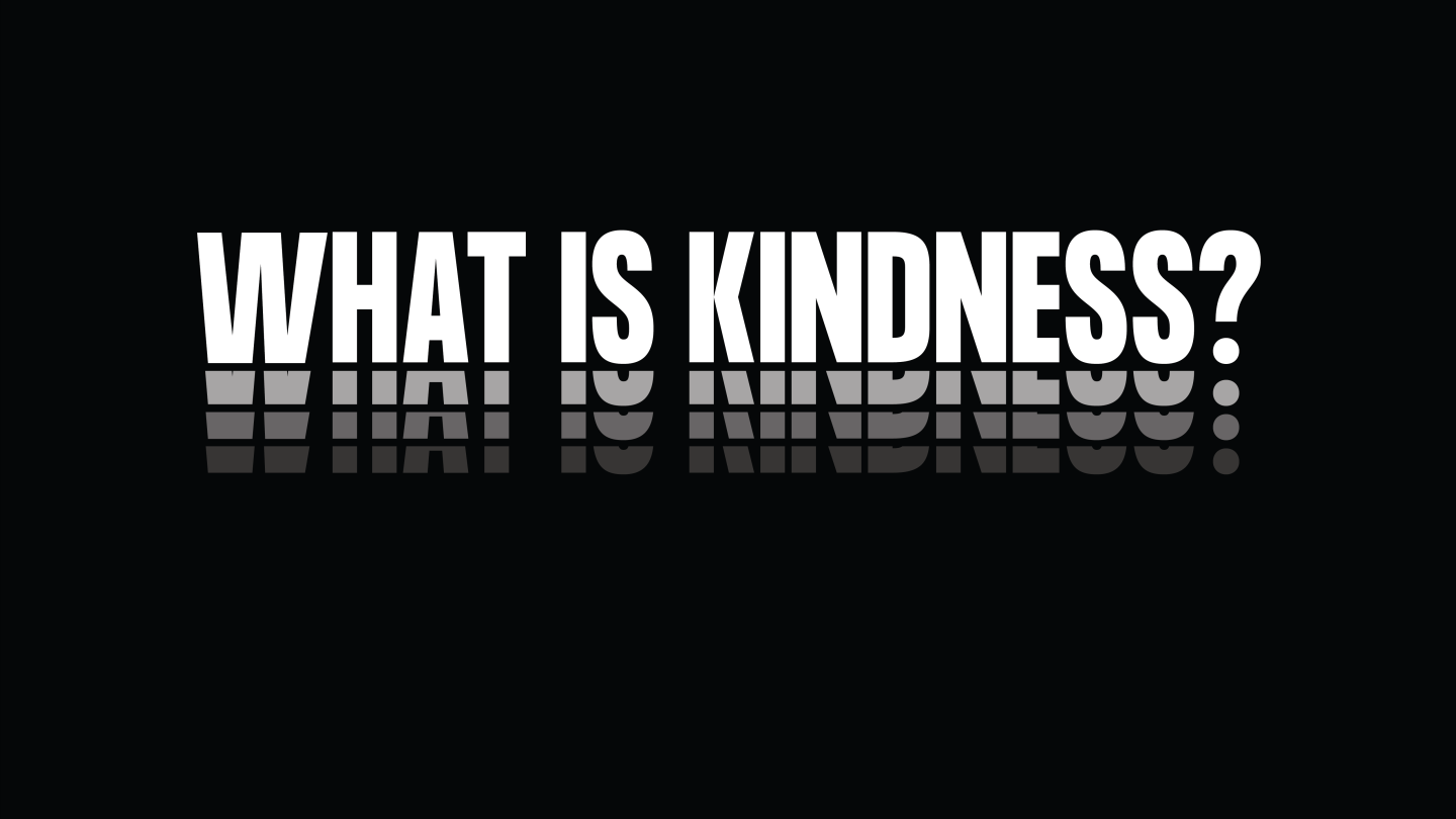 "white capital letters on a black background read ""WHAT IS KINDNESS?"""