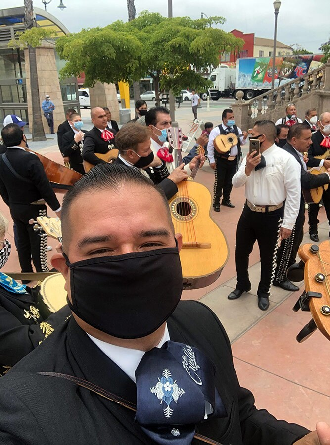 Joel Jacques of Mariachi Los Criollos de Guadalajara gets ready to play at Los Angeles gigs during the pandemic. | Courtesy of Joel Jacques