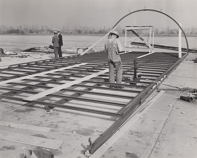 Steel frame and base for hut | Housing Authority of the City of Los Angeles