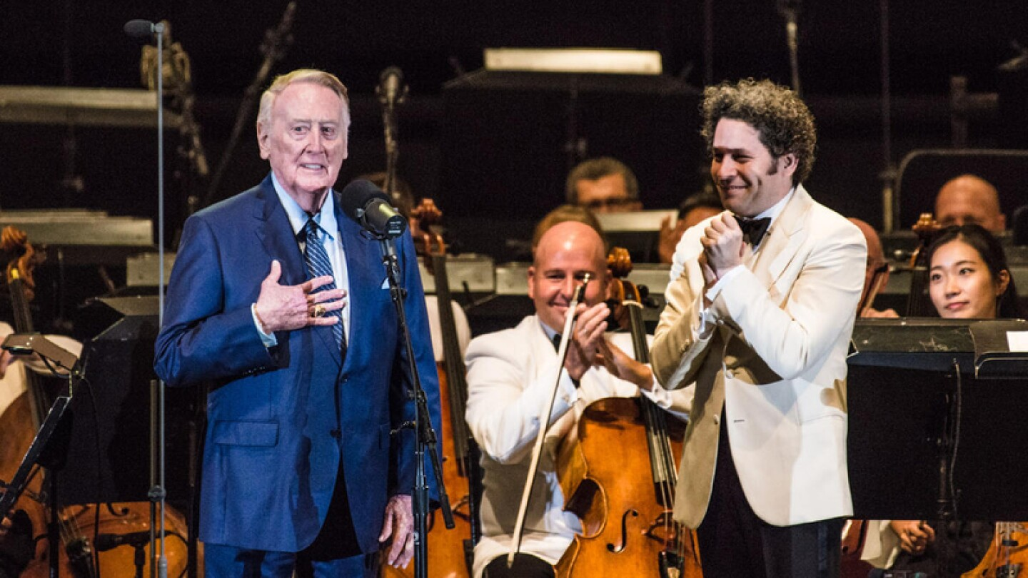 Vin Scully, featured in the new series IN CONCERT AT THE HOLLYWOOD BOWL (Image courtesy of Timothy Norris)