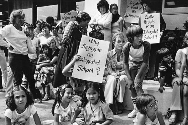Protest of forced busing for school desegregation, 1980 | Courtesy of the Los Angeles Public Library