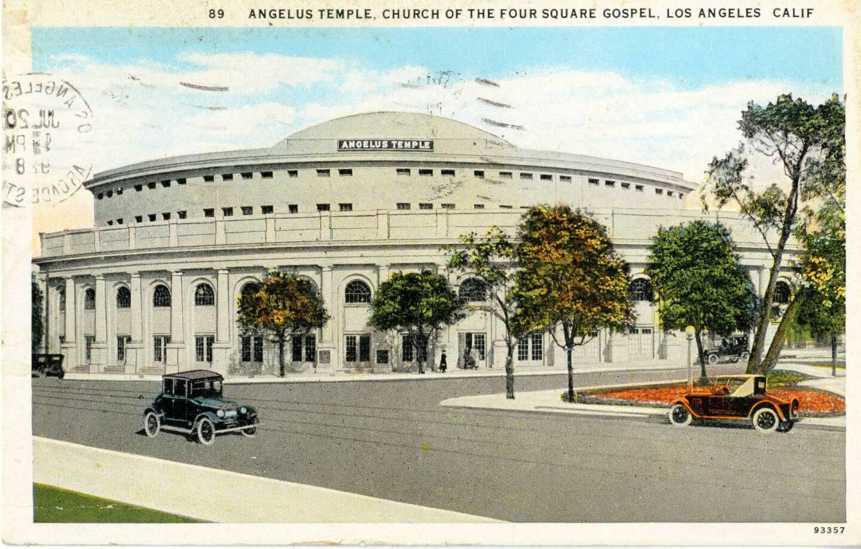 Circa 1928 postcard of Angelus Temple