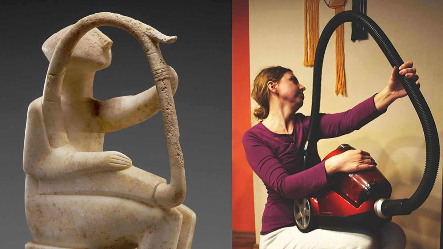 Male Harp Player of the Early Spedos Type, 2700–2300 B.C., Cycladic. Marble, 14 ⅛ x 11 1/16 in  The J. Paul Getty Museum, 85.AA.103 and a recreation via Facebook   Irena Ochódzka with canister vacuum
