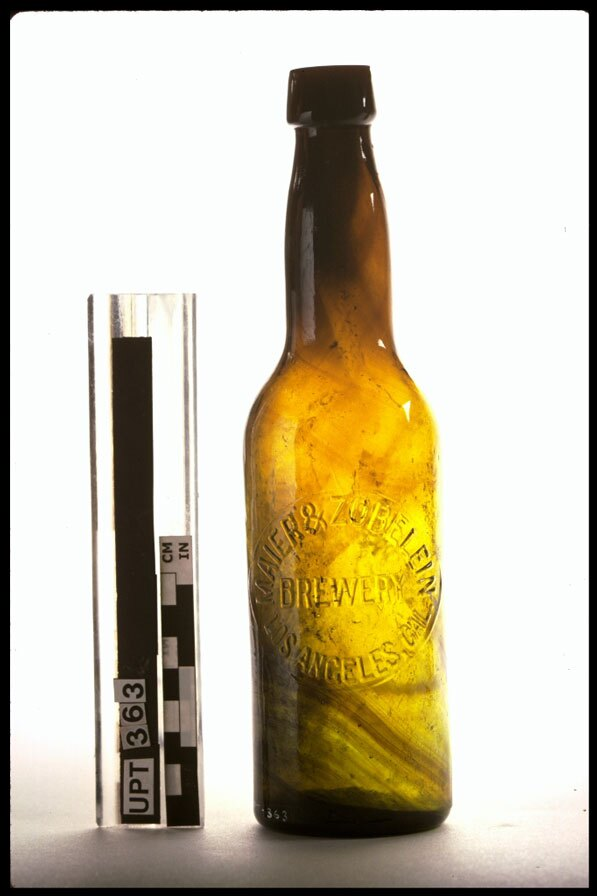 Maier and Zobelein beer bottle excavated from Union Station, 1989-1991. Courtesy of the Chinese Historical Society of Southern California and USC Digital Library.