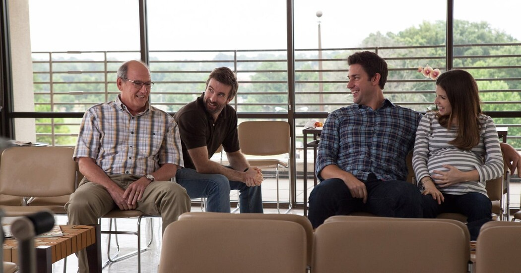 "Richard Jenkins, Sharlto Copley, John Krasinski, and Anna Kendrick (from left to right) in ""The Hollars."""