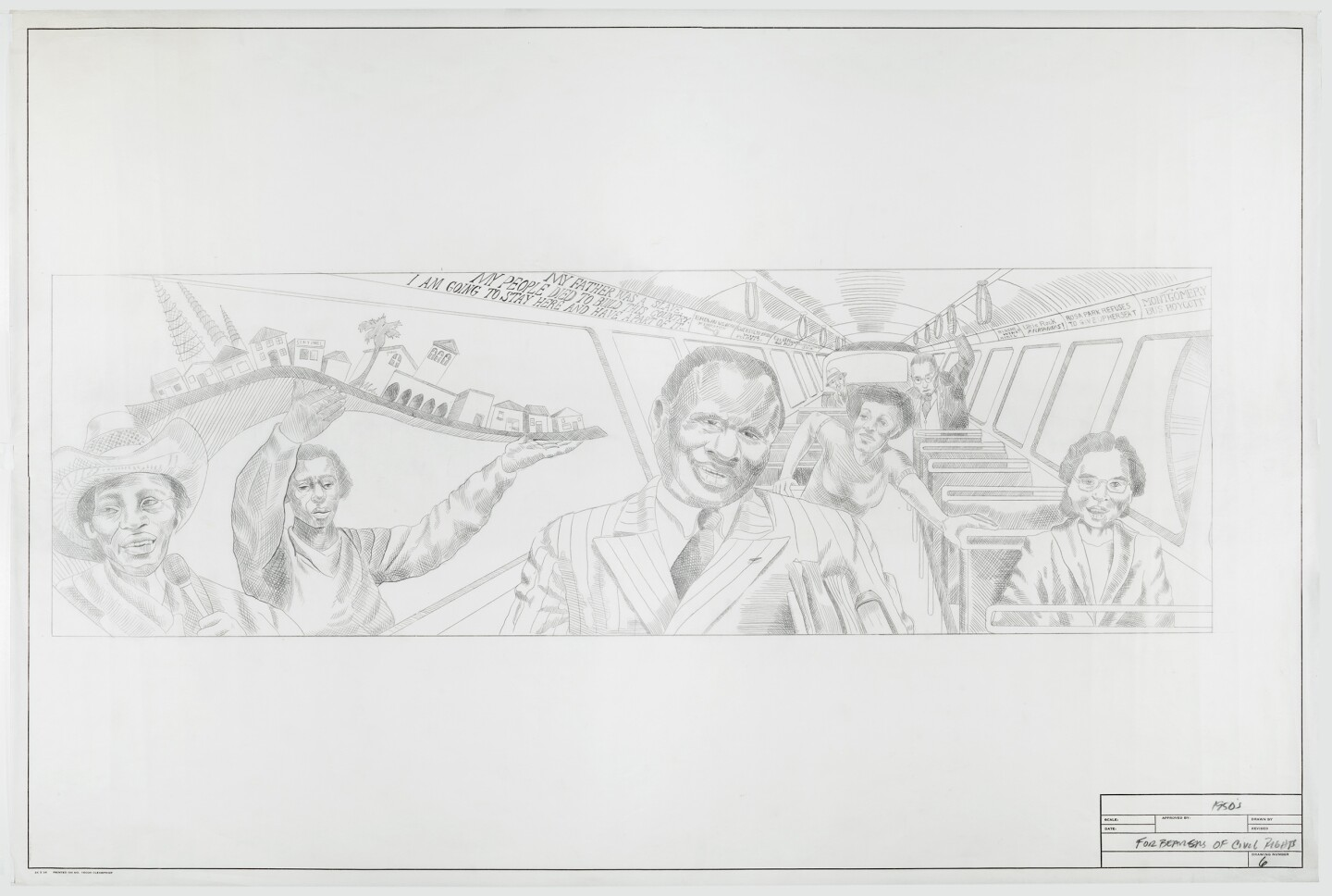 "A 1983 graphite sketch of ""The Great Wall of Los Angeles 1950: Forebearers of Civil Rights"" depicting prominent civil rights leaders and activists like Paul Robeson, Rosa Parks, Gwendolyn Brooks, Ralph Bunche and Martin Luther King, Jr. rising from their bus seats."