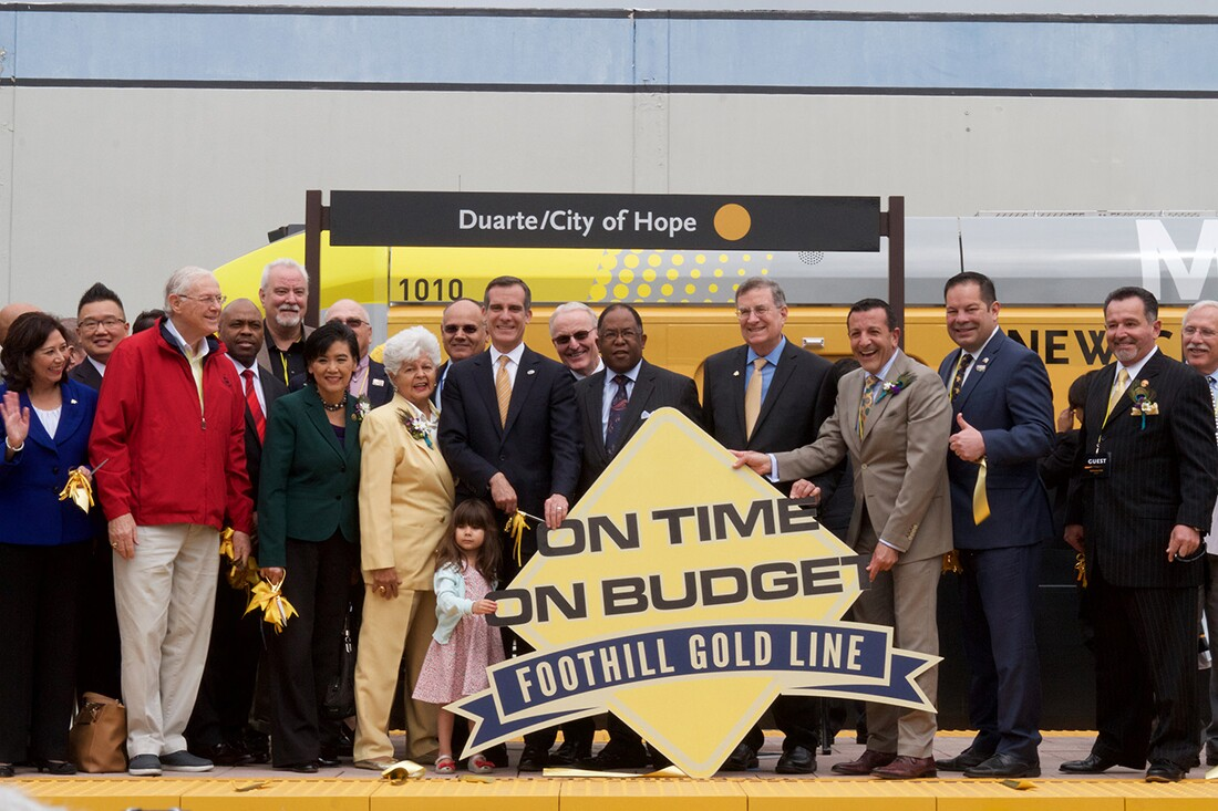 Los Angeles' Metro opening ceremony for Foothill Gold Line opening on March 5, 2016.   Metro - Los Angeles/Flickr/Creative Commons