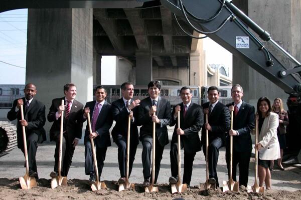 Ceremonial shovels for breaking ground beneath the sixth street bridge | Photo: Carren Jao