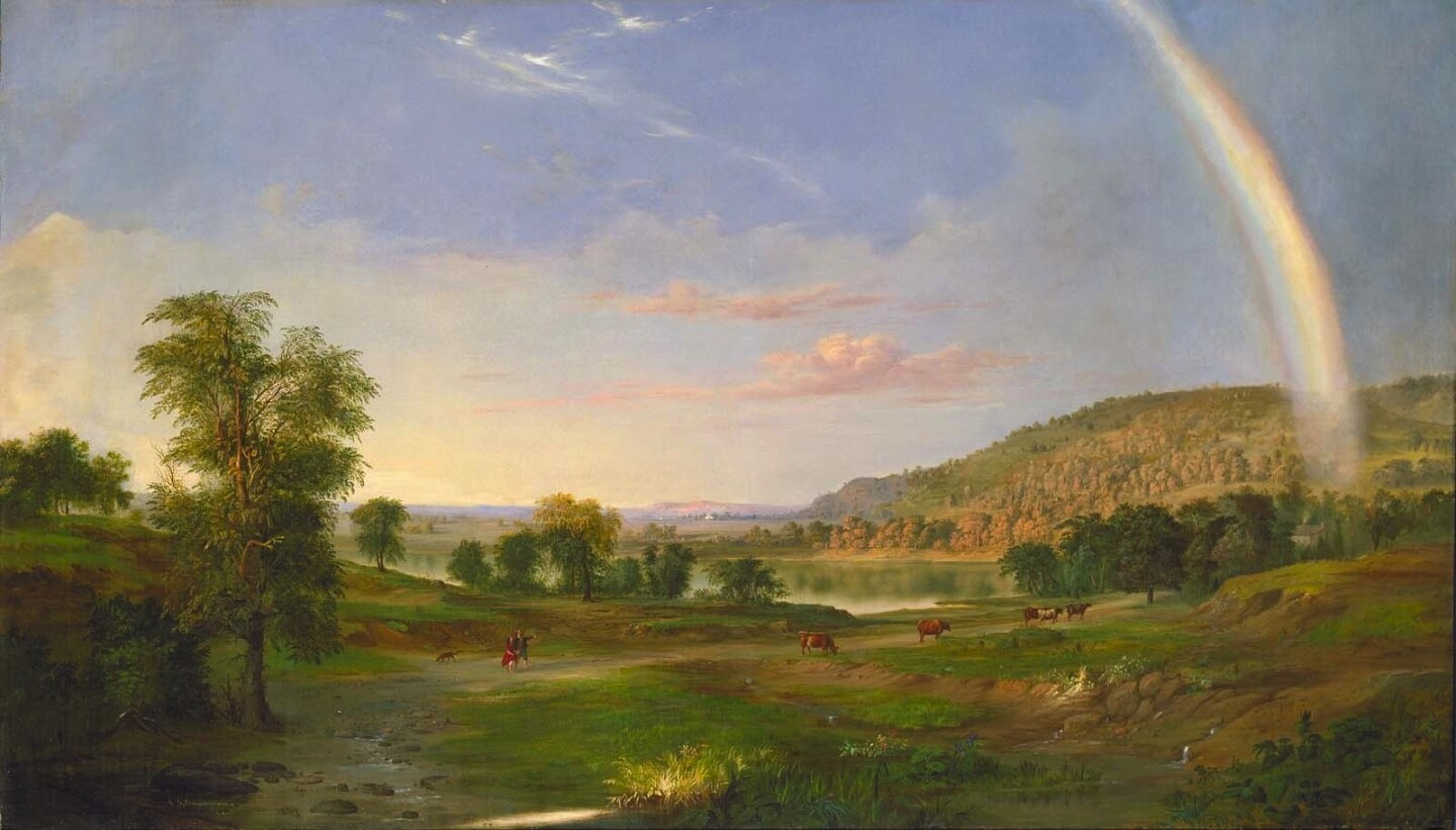 "Robert S. Duncanson, ""Landscape with Rainbow,"" 1859."