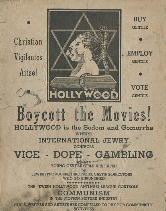 Flyer distributed via plane over Hollywood,1938 | Courtesy of the USC Libraries -- Jack L. Warner Collection.