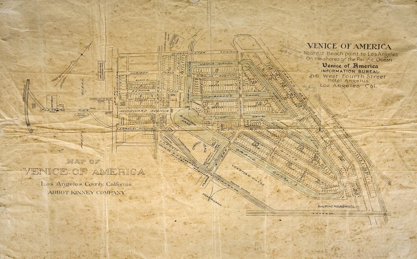 Abbot Kinney's original plan for Venice of America. All the canals pictured here are now paved roads. Courtesy of the Los Angeles Public Library Map Collection.