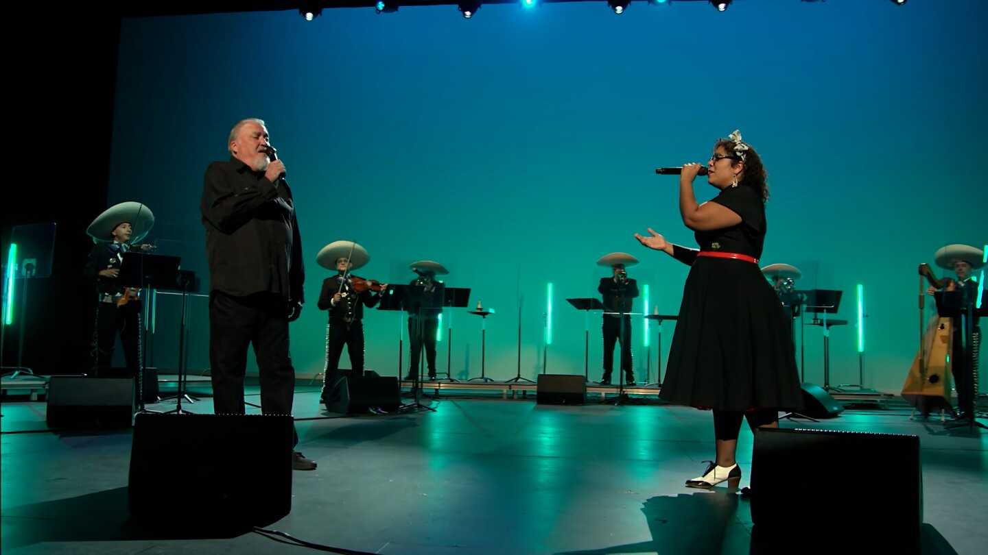"La Marisoul, David Hidalgo and Mariachi Garibaldi de Jaime Cuéllar perform ""Somewhere Out There"" 