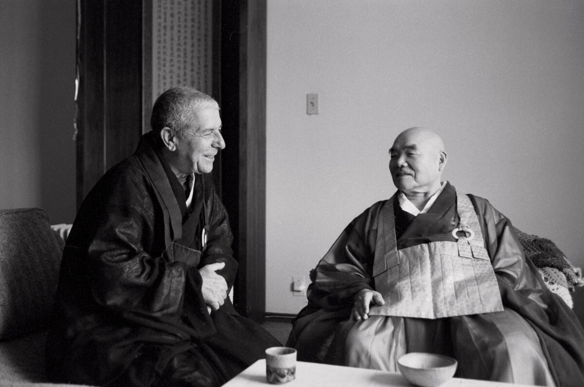 Joshu Sasaki Roshi with Leonard Cohen at the Mount Baldy Zen Center, San Bernardino County, 1994 | Don Farber