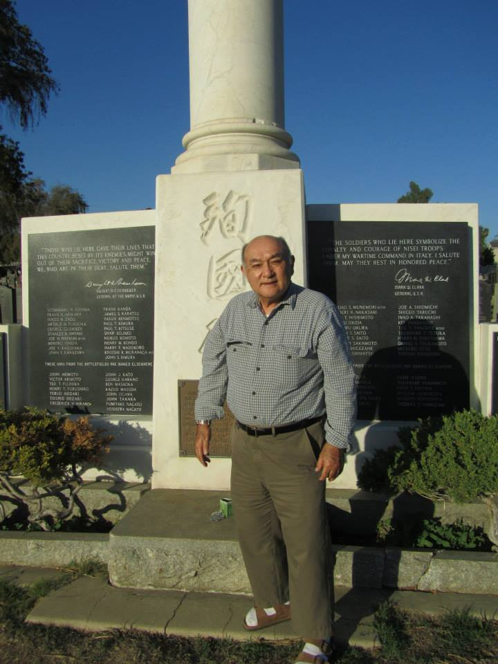 Patricia Wakida's father at Evergreen Cemetery's 442nd Monument | Courtesy of Patricia Wakida