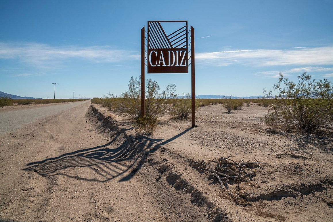 Cadiz Inc. signage along the Cadiz Road leading to the Cadiz Dunes Wilderness. | Kim Stringfellow