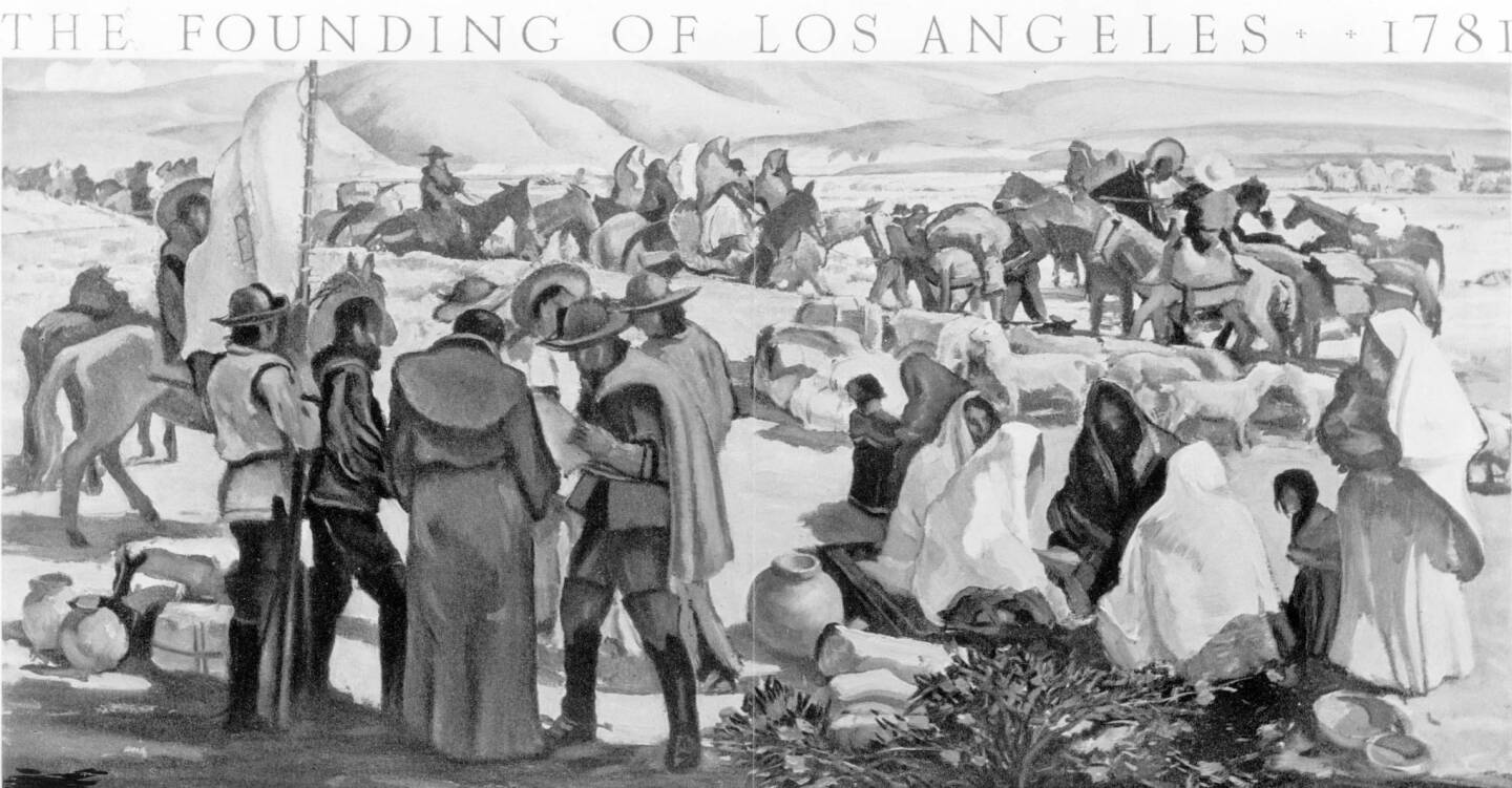 Mural by Millard Sheets depicting the 1781 founding of Los Angeles. Courtesy of the Title Insurance and Trust / C.C. Pierce Photography Collection, USC Libraries.